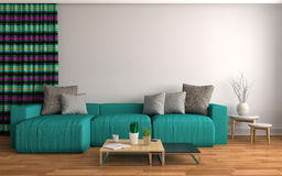Interior with sofa. 3d illustration Royalty Free Stock Photo