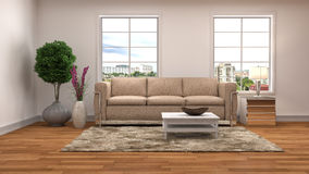 Interior with sofa. 3d illustration Royalty Free Stock Photo