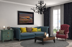 Interior with sofa. 3d illustration Stock Images