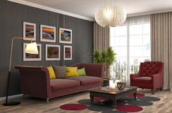 Interior with sofa. 3d illustration Stock Image