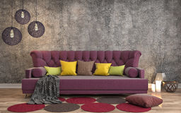 Interior with sofa. 3d illustration Royalty Free Stock Photos