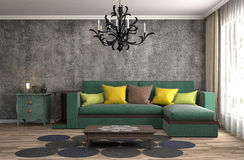 Interior with sofa. 3d illustration Royalty Free Stock Images