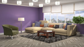 Interior with sofa. 3d illustration Royalty Free Stock Photos