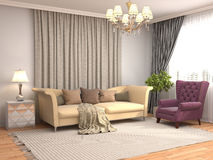 Interior with sofa. 3d illustration Royalty Free Stock Image