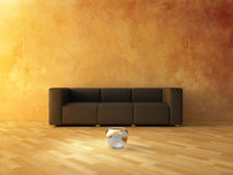 Interior - Sofa and Fish. Interior - Modern sofa on empty wall and fish bubble glass on parquet Royalty Free Stock Image