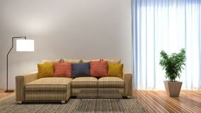 Interior with a sofa and a large window. 3d illustration Royalty Free Stock Images