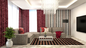 Interior with sofa and red curtains. 3d illustration Royalty Free Stock Photography