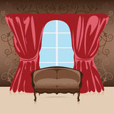 Interior, sofa in the room. Against the wall, curtains and window, vector illustration vector illustration