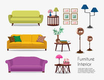 Interior. Sofa sets and home accessories. Furniture design. Sofas with pillows, lamps, pictures Stock Photo