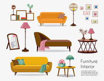 Interior. Sofa sets and home accessories. Furniture design. Sofas with pillows, lamps, pictures royalty free illustration