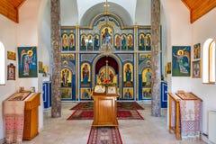 Interior Soko Monastery est? situado debajo de Soko Grad, en las cuestas de la monta?a de Sokolska cerca de Ljubovija imagenes de archivo