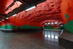 Interior of Solna centrum station of Stockholm subway. Stockholm, Sweden - December 26, 2016: Interior of Solna centrum subway station. Over 90 subway stations stock image