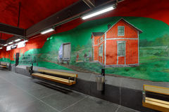 Interior of Solna centrum station of Stockholm subway. Stockholm, Sweden - December 26, 2016: Interior of Solna centrum subway station. Over 90 subway stations royalty free stock images