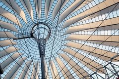 Interior of Sony Center Dome. Roof of the Sony Center, Potsdamer Platz, Berlin, Germany Royalty Free Stock Photography
