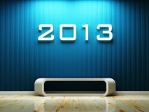 Interior space and 2013 text. Build-in the wall decorated, 3d rendering Royalty Free Stock Images