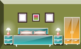 Interior space bedroom with a bed. Vector flat illustration Royalty Free Stock Photo