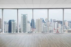 Interior space of modern empty office with city view background. S