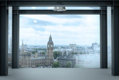 Interior space of modern empty office interior with london city. Background Royalty Free Stock Photos