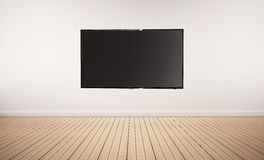 Interior space, oak wood floor with white wall and LED smart TV Stock Image