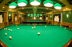Interior space with tables for billiards royalty free stock photo