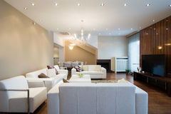 Interior of a spacious living room with fireplace in luxury apar Stock Photography