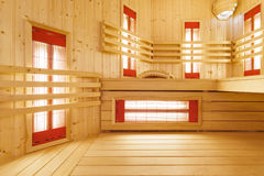 Interior of spacious sauna in residence Stock Photos