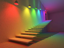 3 interior-spectrum color. 3D renderuing image of 7 hanging lamps which use different bulbs. spectrum color on the cracked concrete wall , stair and wooden floor Royalty Free Stock Images