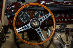 Interior of the sports car Jaguar E-Type, 1962. Royalty Free Stock Photography