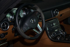 Interior of the sports car Mercedes-Benz SLS AMG Coupe, 2012. Royalty Free Stock Image