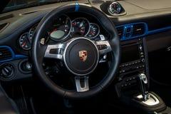 Interior of the sports car Porsche 911 991 closeup, 2011. Royalty Free Stock Photos