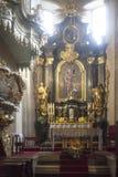 Interior of St. Andrew`s Church. Baroque rococo architecture inside. Krakow, Poland - February 12, 2018 Interior of St. Andrew`s Church. Baroque rococo Stock Photos