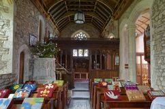 St Andrews Church, Loxton. Interior of St Andrews Church, Loxton, North Somerset .13th century grade II listed royalty free stock photo