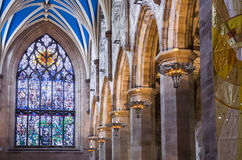 Interior of St Giles Cathedral, Edinburgh, Detail. Window and columns inside St Giles Cathedral, Edinburgh Royalty Free Stock Image