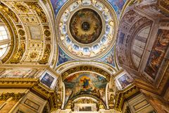 Interior St Isaac`s Cathedral In St Petersburg Stock Photos