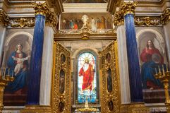 Interior of the St Isaacs Cathedral, St Petersburg, Russia - decorations and stained glass window with Bible paintings Royalty Free Stock Photos