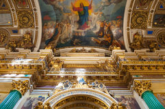 Interior of the St Isaacs Cathedral, Saint Petersburg, Russia - ceiling ornated with Bible paintings Royalty Free Stock Image