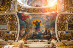 Interior of the St Isaacs Cathedral, St Petersburg, Russia - ceiling ornated with Bible paintings Stock Photos