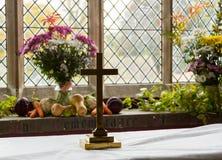 Interior of St Mary Church Swinbrook Stock Photos