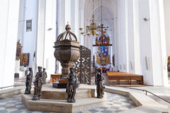 Interior of St. Mary's Basilica in Gdansk Stock Image