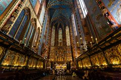 Interior of St. Mary's Basilica Stock Photos