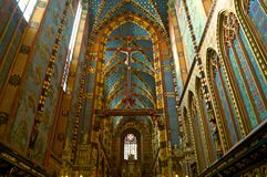 Interior of St Mary's Basilica in Krakow Royalty Free Stock Image