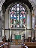 Interior of St Mary`s Church, Rickmansworth including stained glass window royalty free stock image