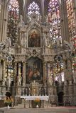 Altar and stained glass windows of the Unesco Saint Mary Cathedral,Erfurt, germany Stock Photography