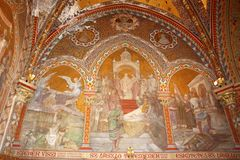 Interior of St. Matthias church in Budapest. View of nave Royalty Free Stock Images