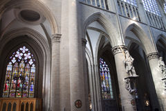 Interior of St. Michael and St. Gudula Cathedral Stock Images