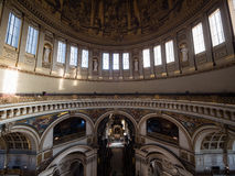 Interior of St Pauls Cathedral. Wide-angle View from the whispering gallery towards the main part and the tower of St Pauls Cathedral Stock Image