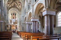 Interior of St. Peter and Paul church in Bern Royalty Free Stock Photo