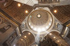 Interior of St. Peter`s Basilica. Looking up at the interior of dome, St. Peter`s Basilica, The Vatican City, Vatican, Rome, Lazio, Italy, Europe Stock Photos