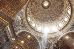 Interior of St. Peter`s Basilica. Looking up at the interior of dome, St. Peter`s Basilica, The Vatican City, Vatican, Rome, Lazio, Italy, Europe Stock Photo