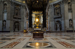 Interior of St. Peter's Basilica in Vatican. One of the major landmarks in Rome, Italy Royalty Free Stock Photography